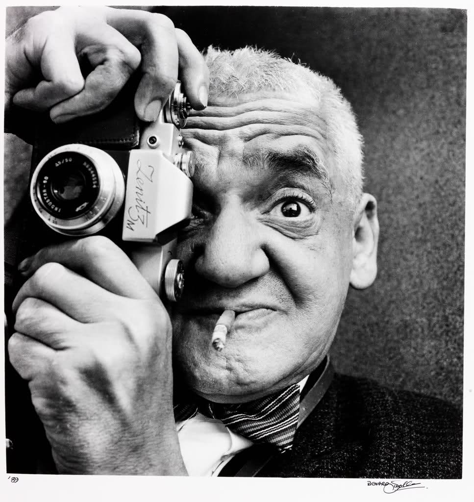 Weegee with a Zenit 3M in Coventry England in the 1960's © Richard Sadler